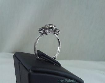 Mini VW Beetle Silver Handmade Ring - International Free Shipping