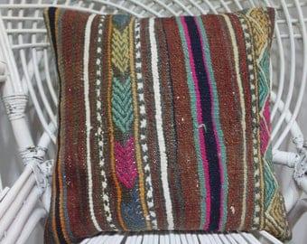 18x18 coloral cushion cover tissu azteque kilim bamboo couch sofa throw pillow embroidered pillow sham pattern rainbow kilim cushion 1807