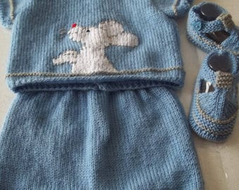 BRA, shorts and booties - handmade knit baby 3 months