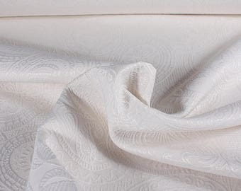 0,5 mètre de brocart tissé en Espagne, motif à Paisley blanc cassé
