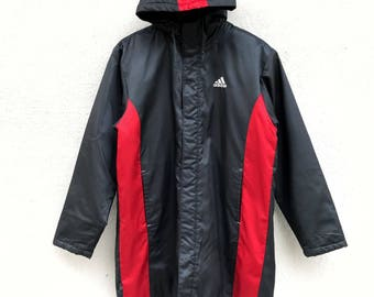 "Vintage Adidas Hoodie Long Jacket Armpit 22""x32"" Adidas Windbreaker/adidas big logo/adidas Spell Out /Adidas Rain Jacket"