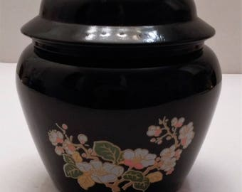 AVON Black Ginger Jar with Cherry Blossom Design