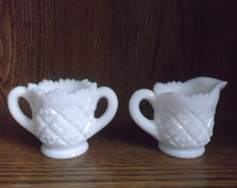 Westmoreland Thumbelina Milk Glass Creamer and Sugar Bowl Set
