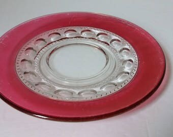 Kings Crown Ruby Flashed Saucer