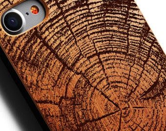 Wood Tree Rings iPhone 8 Case also for X SE 5s 5 6 /6s 7 and 7 Plus 8 Plus Case iPhone 8 Case Samsung Galaxy S6 S7 S8 S8 Plus Real Wood Case