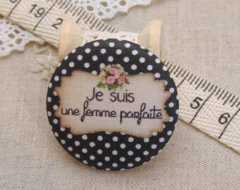 x 1 19mm fabric button I am perfect ref A7