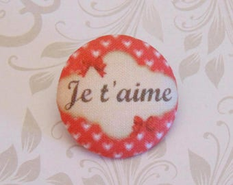 x 1 28mm fabric button I love you more A25