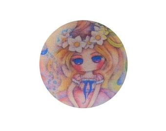 1 cabochon 19mm x BOUT11 flowers girl fabric