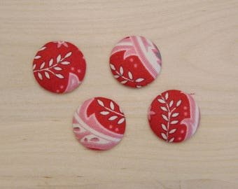 x 4 cabochons 20mm C-17 ref red flowers fabric