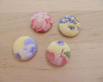 x 4 cabochons 20mm yellow ref TOUR10 floral fabric