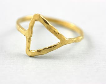 Gold Triangle Ring, Triangle Ring, Geometric Ring, Gold Geometric Ring, Dainty Gold Ring, Simple Minimalist Ring, Stacking Ring, SN0197