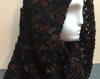 Black and Brown Hooded Cowl, Black Hooded Cowl, Black and Brown Cowl, Crochet Cowl Scarf, Circle Scarf, Winter Scarf, Gifts for Her