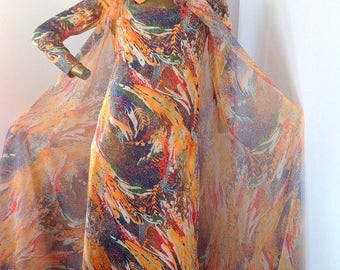 go out on a limb in this ravishing abstract DON LUIS vintage 70s dress and vest  sz/med