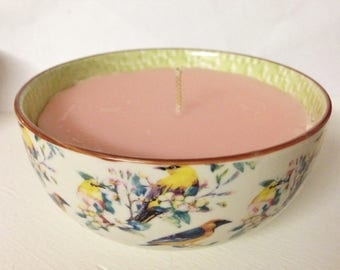 White Bird Bowl Candle