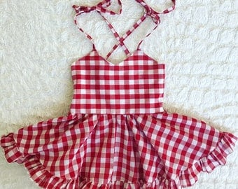 Baby girl toddler dress white and red gingham buffalo plaid picnic dress with self tie straps circle skirt sundress summer spring dresses