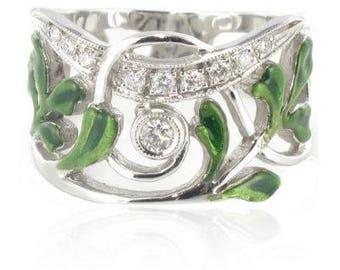 Ring gold diamonds white enamel