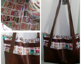 Brown leatherette tote with sweetie print fabric