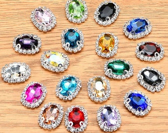 Sew On Oval glass crystal rhinestones button flat back sew on rhinestones beads gems in silver color prong setting 10x14mm 13x18mm 18x25mm