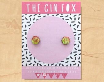 Pink Iridescent Stud Earrings • Pink Earrings • Mermaid  • Iridescent Glitter • Handmade Earrings • Wooden Earrings •