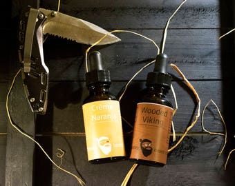 Dual Collection - Crèma Naranja & Wooded Viking Beard Oil 1oz each - Beard Moisturizer, Beard Conditioner, Beard Care