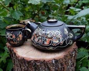 Black Owls tea set Teapot set Ceramic pottery Tea kettle Pottery mugs Wife gift Tea mug Mom gifts Housewarming gift Wedding gift Womens gift