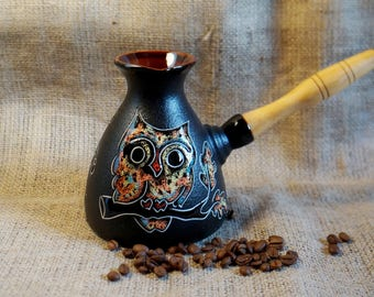 Owl gift Ceramic coffee pot Turkish coffee pot New house gift for sister birthday Coffee lovers gift Ceramic owl Spring gift ideas for wife