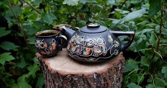 Black Owls tea set Teapot set Ceramic pottery Tea kettle Pottery mugs Wife gift Tea mug Mom gifts Housewarming gift Wedding gift Womens gift