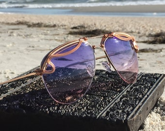 PURPLE Aviator Sunglasses Unisex Men Women, Wire Wrapped Artisan Sunglasses, SPUNGLASSES, Festival Sunglasses, Embellished Sunglasses, NEW