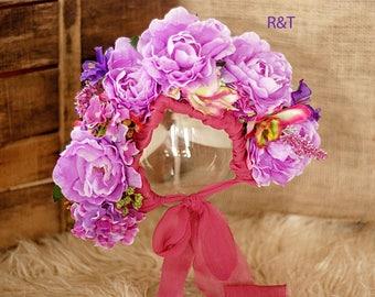 Sitter Floral Bonnet- Newborn Girl Photo Prop- Colourful Flower bonnet, purple floral bonnet
