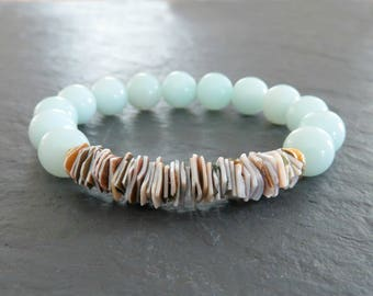 Beach Jewelry, Surfer Girl Jewelry, Hawaiian Bracelet, Aqua Bracelet, Rustic Jewelry, Shell Jewelry, Stretch Bracelet, Gifts for Her
