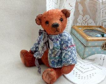 OOAK teddy Teddy bear Matt Classic bear Brown bear Bear in jacket Artist teddy bear Plush bear Gift for her Toy bear Teddy toy Pocket bear