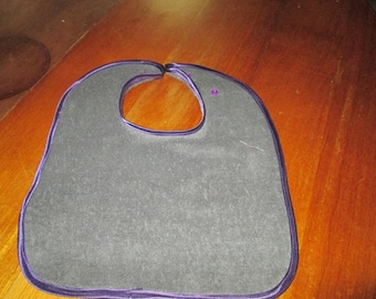 hand made in grey Terry cloth bib