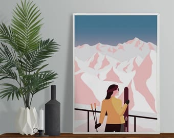 Mountain Skier Art Print - A4 A3 Size - Winter Mountains Fine Art Print - Modern Minimal Scandi Style Art - Ski Alps Poster
