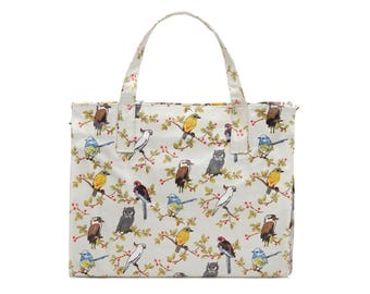 Ladies Large Reusable shopper- Oilcloth Work tote- Zip shopping bag- Oil cloth Laptop computer briefcase- Australia bird cockatoo Waterproof