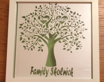 Personalised family tree papercut with four names