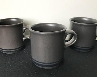 Set of 3 Pfaltzgraff Midnight Sun Flat Cups (Mugs)