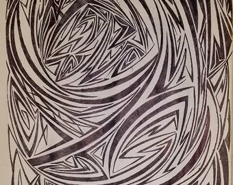 Original Abstract Drawing, Modern Drawing, Original Modern Art,