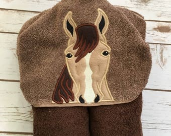 Horse Hooded Towel - Perfect for Pool, Beach or Bath Time - Great Birthday Gift