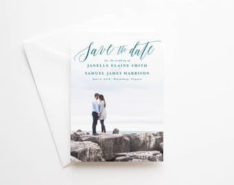 Printed Photo Save the Date Cards for Weddings - Premium Quality Paper and Envelopes - 5x7 - Hand-drawn Floral - Blush and Dusty Blue