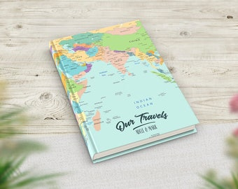 Personalised Anniversary Gift, Personalised Birthday Gifts, 40th birthday, Custom map notebook, Travel journal, Couples Gift, Keepsake book