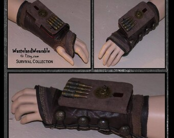 Apocalyptic BRACeR PHONE BRACER Industrial Mad Max Steampunk MILITARY Brown Leather