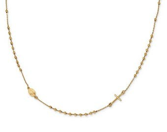 Rosary Cross Necklace 14 K Yellow Gold 16in