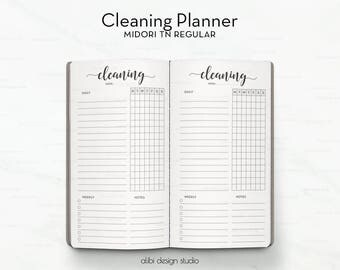 Standard TN, Cleaning Planner, Travelers Notebook, Cleaning Schedule, Midori, Cleaning Tracker, Cleaning Printable, To Do, TN Inserts