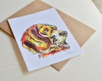 Handmade Watercolor Dog Greeting Card - Beagle Card - Flat Blank Card - Any Occasion