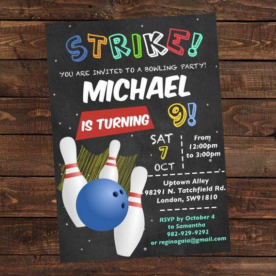 Bowling Birthday Invitation Boy Printable  Bowling Invitation