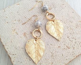 Boho Earring,Boho Gold Earring,Leaf Earring,Leaf Dangle Earring,Leaf Drop Earring,Leaf Tribal Earring,Leaf Marble Earring,Gold Leaf Earring