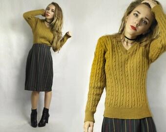 Wool sweater / V neck wool pullover /Trekka wool sweater / Cable knit sweater / Wool pullover