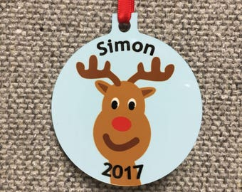 Personalized Rudolph the Red Nosed Reindeer Ornament - Made to order