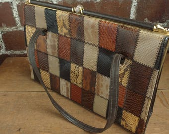 Vintage Brown Patchwork Leather Handbag Top Handle Frame