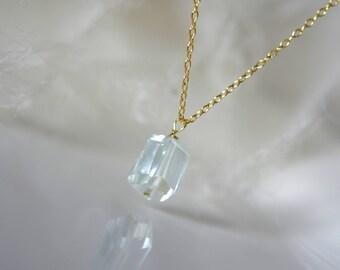 Blue aquamarine on chain silver or gilded blue Aqua Marine on chain silver or gilded